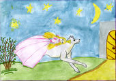 Child's drawing of princes and wolf. — Stock Photo