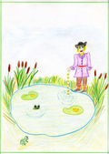 "Child's drawing on the fairy tale by Brothers Grimm ""Profitable&q — Stock Photo"