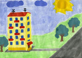 Child's drawing of yellow house. — Stock Photo
