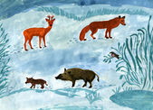 Child's drawing of animals in the forest. — Foto de Stock