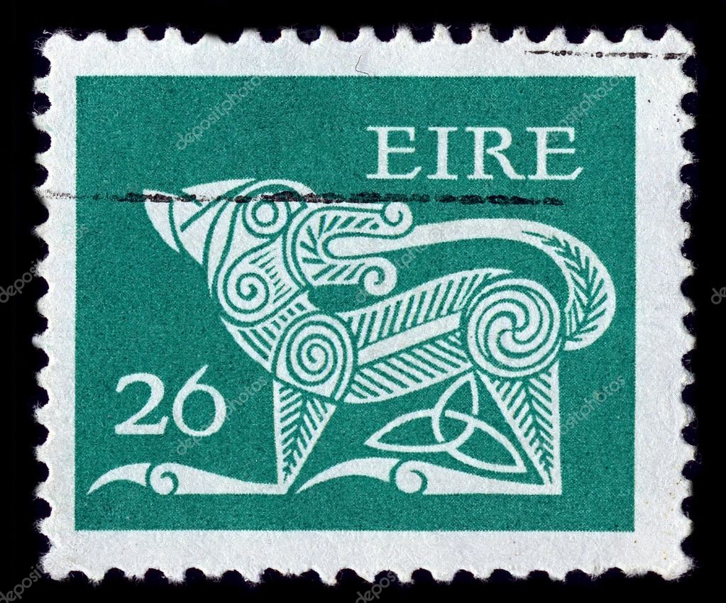 IRELAND-CIRCA 1977:A stamp printed in IRELAND shows image of The dog, in the form of decorative brooches, circa 1977. — Stock Photo #6240754