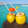 Coconut coktails in caribbean on wood pier — Stock Photo