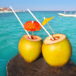 Coconut coktails in caribbean on wood pier - Stock Photo