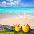 Caribbean paradise beach coconuts cocktail - Stock Photo