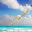 Advertise beach parachute boat yellow copyspace - Stock Photo