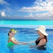 Stock Photo: Daughter and mother in swimming pool tropical
