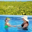 Royalty-Free Stock Photo: Daughter and mother in swimming pool tropical