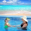 Daughter and mother in swimming pool tropical — Stock Photo