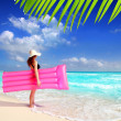 Beach woman floating lounge pink tropical Caribbean — Stock Photo