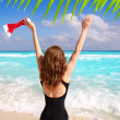 Stock Photo: Santa woman tourist christmas caribbean vacation