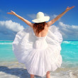 Beach rear woman wind shaking white dress — Stock Photo #5395135