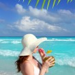 Coconut fresh cocktail profile beach woman drinking — Stock Photo