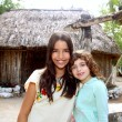 Indian mayan latin girl with her caucasian friend — Stock Photo #5395929