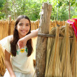 Mexican indian Mayan latin girl in jungle cabin house — Stock Photo #5396181