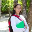 Hispanic latin teenager girl backpack in Mexico park — Stock Photo