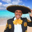 Charro mariachi singing shout in Mexico beach - Stock Photo