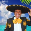 Charro mariachi singing shout in Mexico beach — Stock Photo