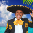 Royalty-Free Stock Photo: Charro mariachi singing shout in Mexico beach