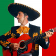 Royalty-Free Stock Photo: Charro Mariachi playing guitar in Mexico flag