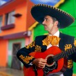 Royalty-Free Stock Photo: Charro Mariachi playing guitar Mexico houses