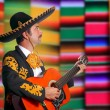 Charro Mariachi playing guitar serape poncho — Stock Photo #5397420