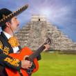 Charro Mariachi playing guitar in Chichen Itza — Stock Photo #5397435
