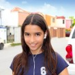 Hispanic latin teenager girl earphones music — Foto Stock