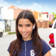 Hispanic latin teenager girl earphones music — Stok fotoğraf