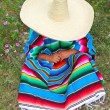 Mexican lazy sombrero hat man poncho nap garden — Stock Photo #5397488