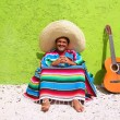 Постер, плакат: Mexican typical lazy topic man guitar poncho sit