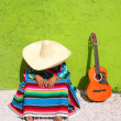 Nap lazy typical mexican sombrero man sitting — Stock Photo