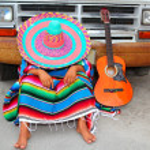 Lazy nap mexican guy sleeping on grunge car — Stock Photo