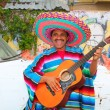 mexican humor man smiling playing guitar sombrero — Stock Photo