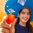 Mexican girl habanero orange hot chili pepper — Stock Photo #5397707