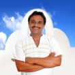 Mexican man with mayan shirt smiling — Stock Photo