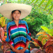 Latin mexican hispanic sombrero poncho woman — Стоковая фотография