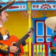 mexican mariachi charro man and poncho mexico girl — Stock Photo #5398171