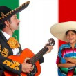 Mexican mariachi charro man and poncho Mexico girl — Foto de Stock