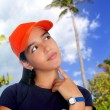 Latin teen hispanic pensive girl orange cap — Stock Photo #5398226