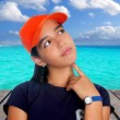 Latin teen hispanic pensive girl orange cap — Stock Photo