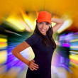 Beautiful Latin teen hispanic girl orange cap posing — Stock Photo