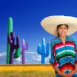 Mexican poncho serape girl big sombrero in cactus — Stock Photo