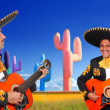 mexican mariachi charro playing guitar in cactus — Stock Photo