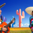 mariachi charro playing guitar mexican poncho girl — Stock Photo #5398386