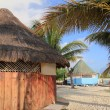 Stock Photo: Tropical wood hut palapin Cancun Mexico