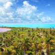 Aerial view Contoy tropical caribbean island Mexico — Stock Photo