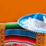 Charro mariachi blue mexican hat serape poncho — Stock Photo #5399331