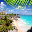 Ancient Mayruins Tulum Caribbeturquoise — Stock Photo #5399628