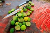Achiote knifes and lemons for achiote tikinchick sauce — Stock Photo