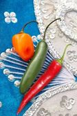 Mexican hot chili peppers red habanero serrano — Stock Photo